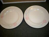2 FINE CHINA MIKASA LDB10 SERENADE PINK CALI LILIES DINNER PLATES