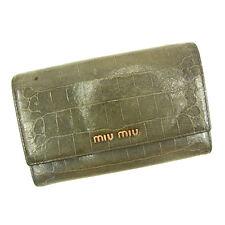 Auth Sale Miu Miu Triple fold Wallet Crocodile embossed ladies used J13259