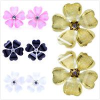 Lovely resin plum flower stud earrings multiple colours