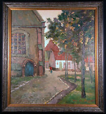 Village in the Brebant Orig Impressionist Oil Painting by Maurice de Meyer