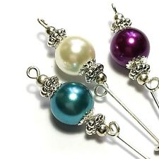 3 Silver Hat Pins Teal Ivory & Purple Glass Bead Vintage Style Pin + Protectors