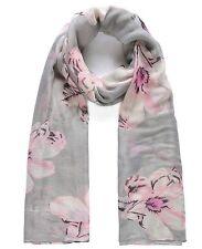 Pretty Grey Pink Large  Floral Oversize  Pashmina Scarf Wrap Shawl Gift Idea