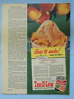 1949 Magazine Advertisement Page For Ten-B-Low Peach Ice Cream Recipe Ad