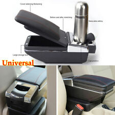 Universal Car Central Container Armrest Box Black PU Leather Center Storage Case