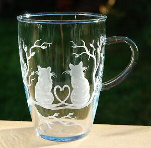 Schöne Teetasse mit Katze cat Katzenmotiv echt Handgeschliffen