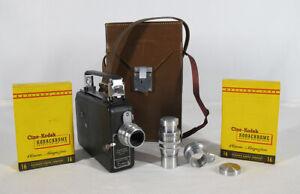 Mid Century Vintage Magazine Cine Kodak 16mm Camera w/Extra Lenses & Film yqz