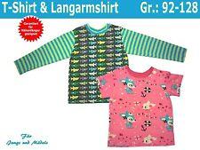 Kinder T-Shirt und Langarmshirt selber nähen, Nähanleitung und Schnittmuster