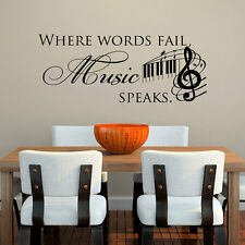Words Fail Music Speaks Word Quote Decals Vinyl Wall Stickers Mural Decor DIY