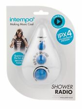 NEW INTEMPO TEARDROP SPLASH PROOF SHOWER RADIO - DUAL BAND AM/FM - EE1459