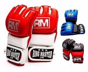 RingMaster MMA Gloves Leather Grappling Punch Bag Mitt Fight Kick Training
