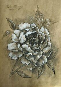 A branch with peony flower. Pencil and white pastel  original drawing A4 format