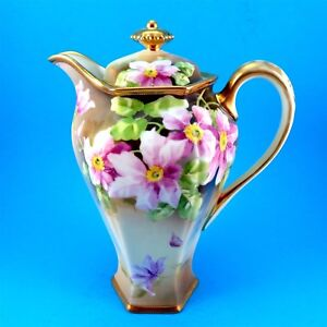 Handpainted Purple Clamatis Nippon Large Teapot / Chocolate Pot (Some Gold Loss)