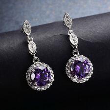 Elegant Round Cut Purple Amethyst Drop/Dangle Earrings White Gold Filled Jewelry
