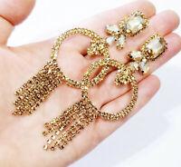 Topaz Oversized Rhinestone Chandelier Earrings Bridal Prom 4.2 inch