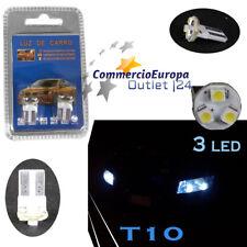 COPPIA LAMPADINE T10 3 LED W5W SDM POSIZIONE TARGA ABITACOLO ULTRA WHITE