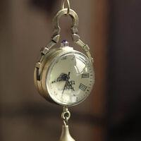 Neu Retro Vintage Bronze Quarz Kugel Glas Taschenuhr Halskette Steampunk