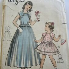 Size 8 Vintage 1950s Sewing Pattern Weigel's 1632 Girls Party Dress 2 lengths