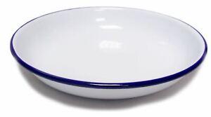Falcon Enamel Rice Pasta Plate 24cm Roasting Baking Pie Serving White Camping