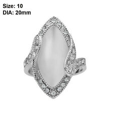 Romantic Women Oval Shaped Silver Plated Crystal Big Opal Ring Wedding Jewelry 10