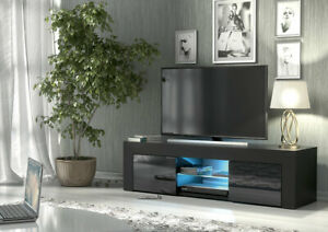 Black Modern TV Unit Cabinet Stand Sideboard Matt body and High Gloss Doors LED
