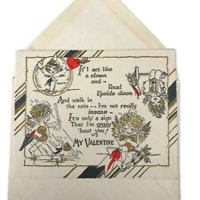 Vintage 1930s Valentine's Day Card With Envelope Act Like A Clown Crazy For You