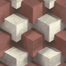 Rojo Oscuro 3d Cubos Papel Pintado Por Muriva Moderno PEGAR A PARED VINILO