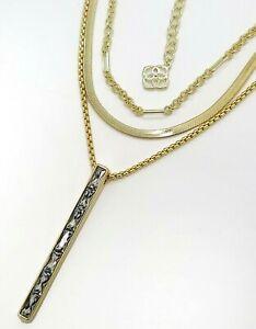 New KENDRA SCOTT brand 160 Jack Gold Multi Strand Necklace White Crystal Pendant