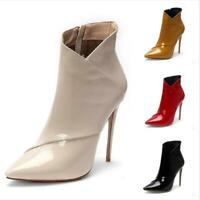 Women Ladies Stilettos High Heels Ankle Boots Pointed Toe Party Shoes Size 34-45
