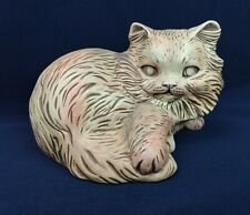 Vtg Scioto Ceramic Cat 1980 Pink Calico Long Hair Haunted Eyes Figure Hobby Art