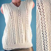 VTG Ivory Knit Acrylic Classic Sweater Vest Blouse Slouch Top sz L