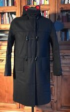 Vintage Wool Duffle Coat Black Colour Mens With Hood Red Lining Adult Child