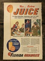 RARE Vintage 1944 Florida Orange Juice AD WWII Victory Vitamin C 10.5x15.5