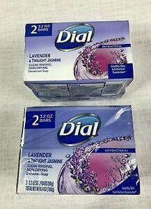 4 Bars Dial Lavender & Twilight Jasmine Antibacterial Deodorant Soap 3.2 Oz