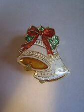"""Small Gold Tone & Multi-Colored Enamel Christmas Bells Pin, Brooch, 1"""""""