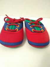 Baby Shoes Newborn Lace Up Red Blue And Green Vintage