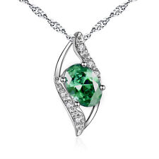 925 Sterling Silver 0.78 CTW Created Oval Cut Emerald Pendant Gemstone Necklace