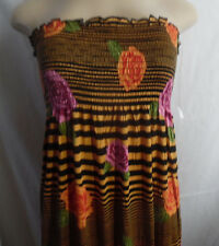 GOLD BLACK ROSES PINK LILAC etc ELASTIC TOP LONG STRAPLESS DRESS RAYON 1X