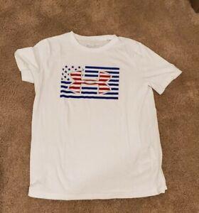 Under armour Boys USA Shirt Size Youth XL Loose Fit Heatgear