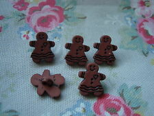 5 Gingerbread Girl Realistic Plastic Buttons