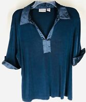 CHICOS TRAVELERS Navy Blue Satin Trim Cuffed Short Sleeve Travel Knit Top 3