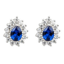Women 925 Silver Stud Earrings with 5x7mm Pear Cut Simulated Blue Sapphire CZ