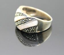 ELEGANT VINTAGE  MARCASITE MOTHER OF PEARL STERLING SILVER  RING SIZE 8.75