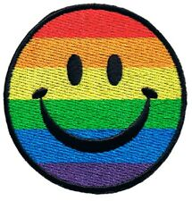 Rainbow Smiley Face Patch - Happy Face, Smile, Pride (Iron on)