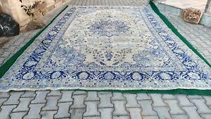 Extra large blue and beige colors,floor decor rug,vintage oushak rug 9'3*13'9 ft