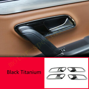 Black Interior Door Handle Frame Cover Ring Trim For Volkswagen VW CC 2013-2017