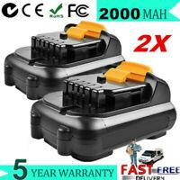 2x 2.0Ah 12V MAX Li-ion Battery For Dewalt DCB100 DCB120 DCB127 DCB121 DCB121 WM