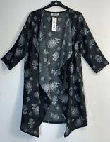 Ladies Lagenlook Waterfall Cardigan 3/4 sleeve Slinky Plus Size : 18 20 22 24 26