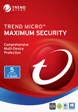 Trend Micro Maximum Security 5 PC Device User 3 Year 2020 2021 Version No CD