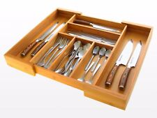 Expandable Kitchen Cutlery Tray, Drawer Inserts Organiser, Made of Bamboo