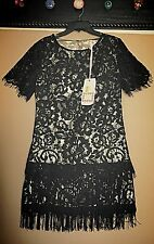 NWT Anthropologie Chelsea and Violet Lace Black and gold flapper Dress size S